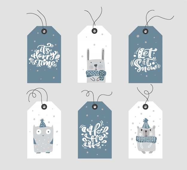 Collection of merry christmas gift tags or labels with handwritten calligraphy lettering text