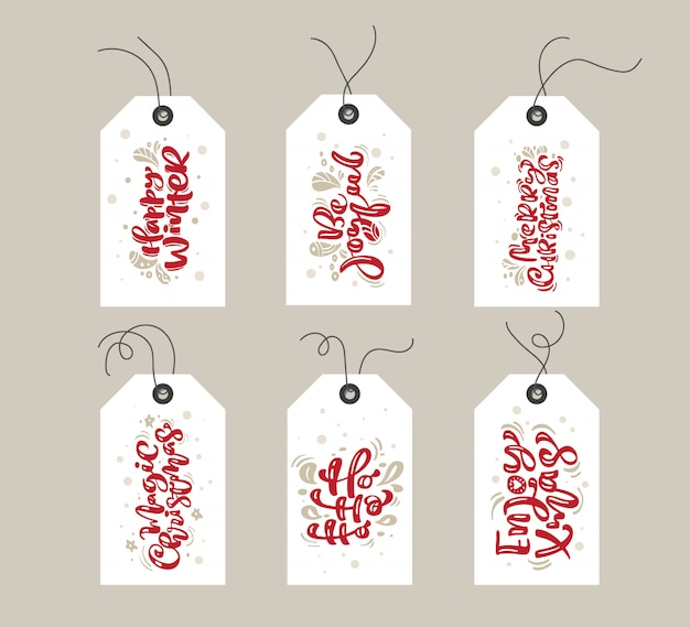 Collection of merry christmas  gift tags with handwritten text