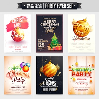 Collection of merry christmas and new year party celebration poster, banner or flyer design.
