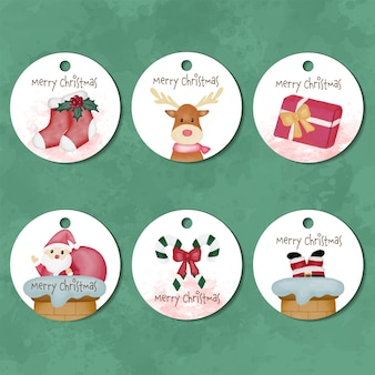 Collection of merry christmas watercolor tag labels Premium Vector