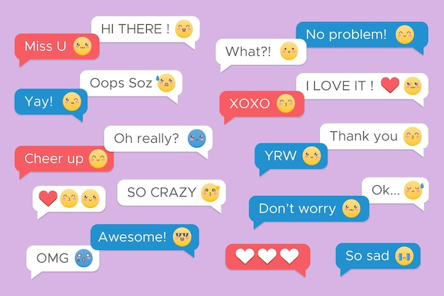 Collection of messages with cute emojis