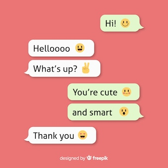 Collection of messages with emojis Premium Vector
