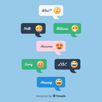 Collection of messages with emojis