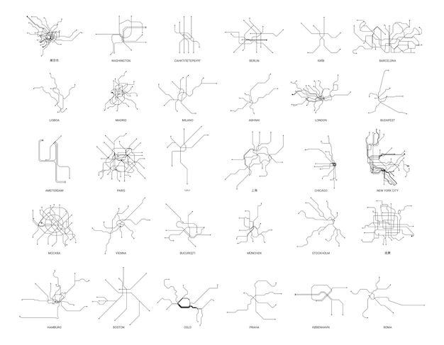 Collection of metro maps of different countries in a linear style.