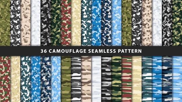 コレクションのミリタリーとアーミーのカモフラージュシームレスパターン
