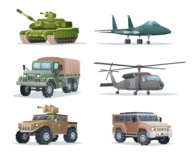 Collection of military army vehicles transportation isolated illustration