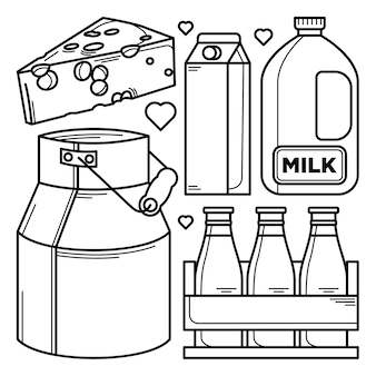 Collection of milk product doodles
