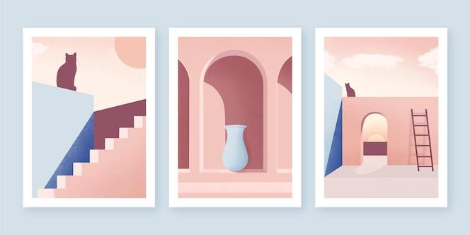 Collezione di copertine dall'architettura minimale