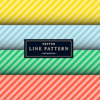 Collection of minimal diagonal lines pattern set in four colors
