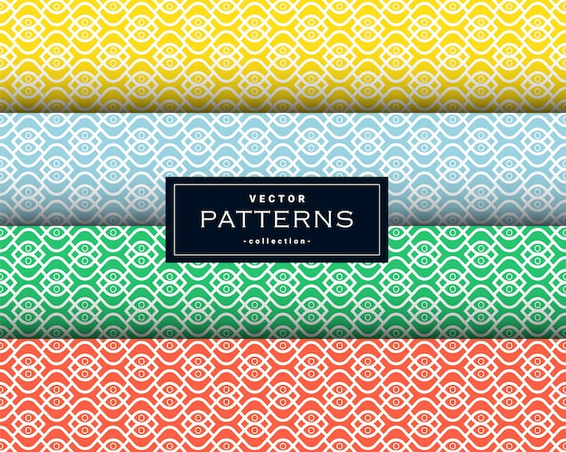 Collection of minimal geometric pattern set in four colors