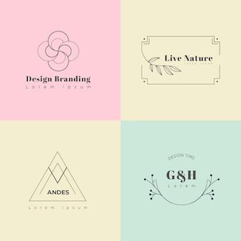 Collection of minimal pastel logos