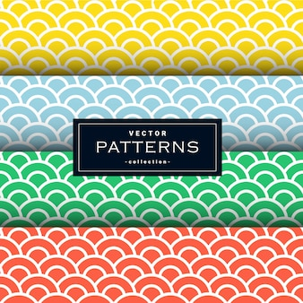 Collection of minimal wave pattern set in four colors
