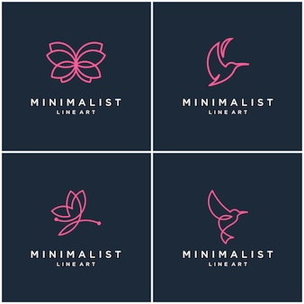 Collection of minimalist animal logo design lines, butterfly and hummingbird. abstract design logos.