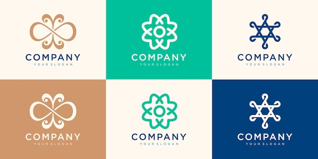 Collection of minimalist company logo design. use logo for association, alliance, unity, team work.
