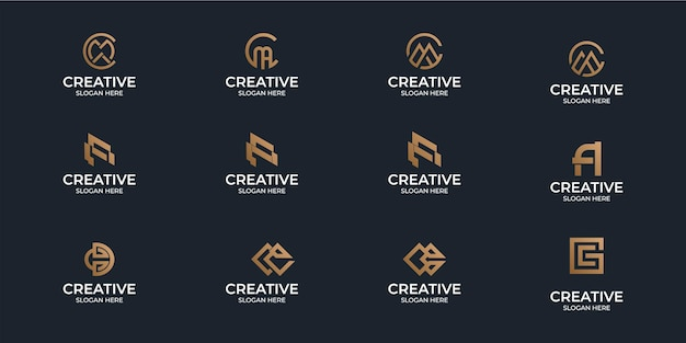 A collection of minimalist flat a-z monogram logos