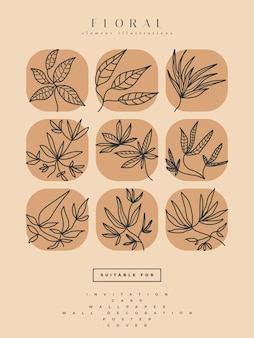 Collection of minimalist flower illustrations in line art style, can be used for print, home decor, wall art poster, invitation, and other