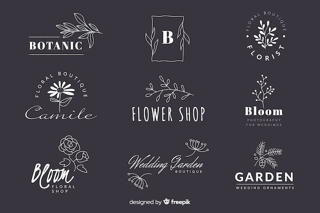 Collection of minimalist wedding florist logos