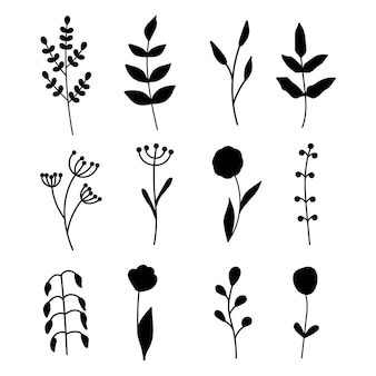 Collection of minimalistic simple floral elements. graphic sketch. fashionable tattoo design. flowers, grass and leaves. botanical natural elements. vector illustration. outline, line, doodle style.