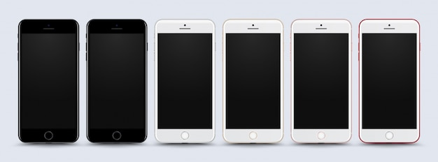 Collection mobile phone mock up on white background
