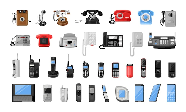 Collection of mobile and stationary telephones communication devices