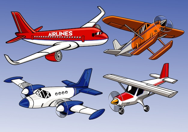 Collection of modern airplane colored