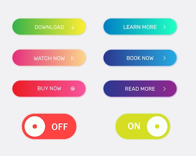 Collection of modern bright buttons for website