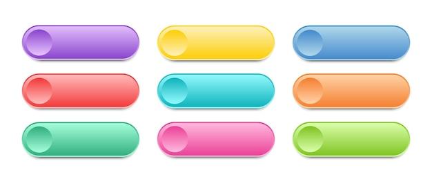 Ui用のモダンなボタンのコレクション。色とりどりのウェブボタンの空白のテンプレート。