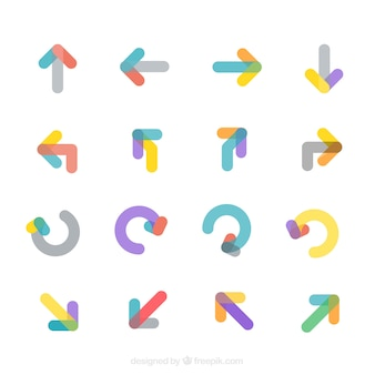 Collection of modern colored arrows