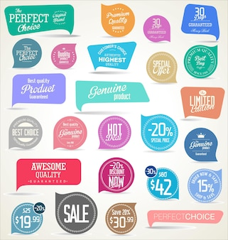 Collection of modern colorful sticker and tags