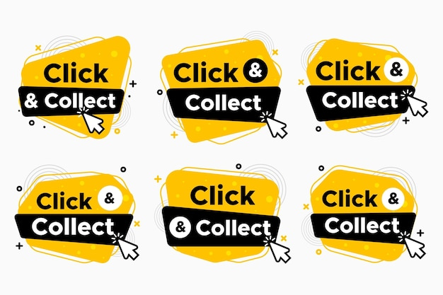 Collection of modern detailed click and collect signs