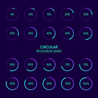 Collection of modern futuristic circular progress loading bar and buffering