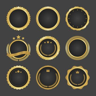Collection of modern, gold circle metal badges, labels and design elements.