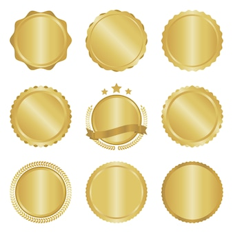 Collection of modern, gold circle metal badges and labels