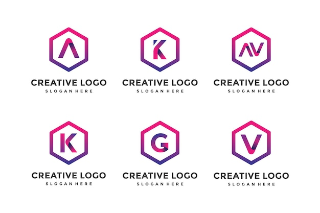 A collection of modern letter logo design templates