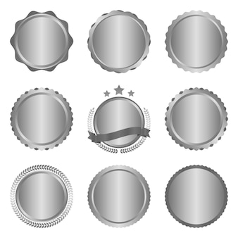 Collection of modern, metal silver circle metal badges and labels