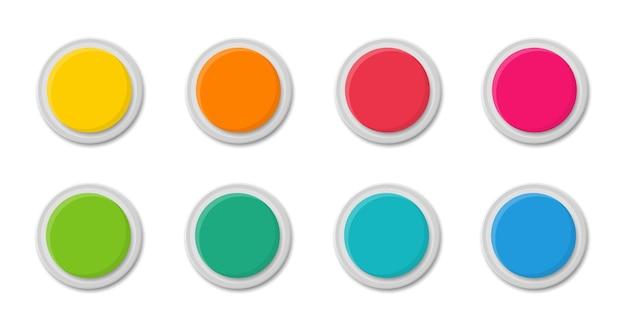 Коллекция современных круглых кнопок. пустой шаблон разноцветных веб-кнопок. плоский стиль.