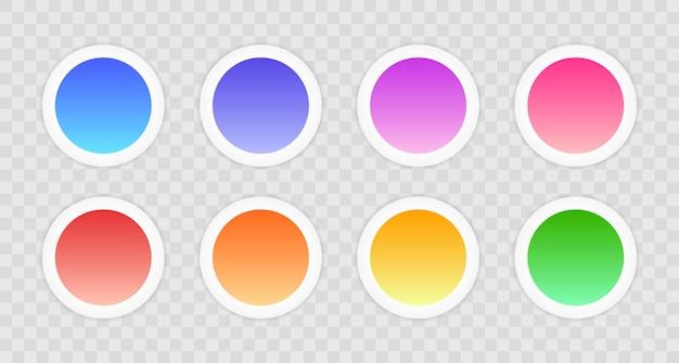 Коллекция современных круглых кнопок градиента. набор веб-кнопок.