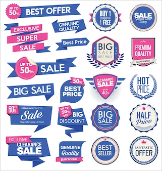 Collection of modern sale stickers and tags