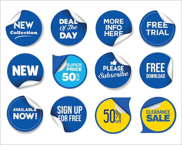 Collection of modern sale stickers