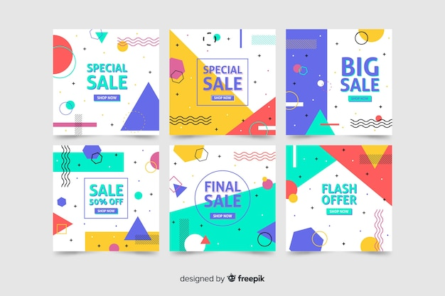 Collection of modern sales banner for social media