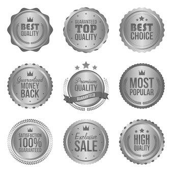 Collection of modern, silver circle metal badges and labels