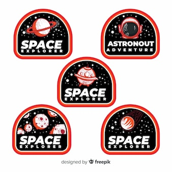 Collection of modern space stickers