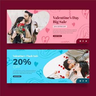 Collection of modern valentine's day banners with photo
