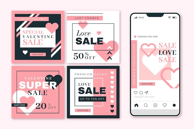 Collection of modern valentine's day sale posts template