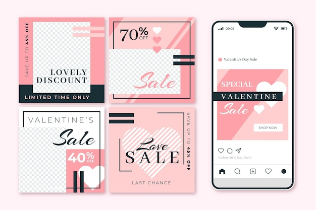 Collection of modern valentine's day sale posts