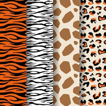 Collection of modern wildlife fur pattern