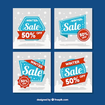 Collection of modern winter sale cards