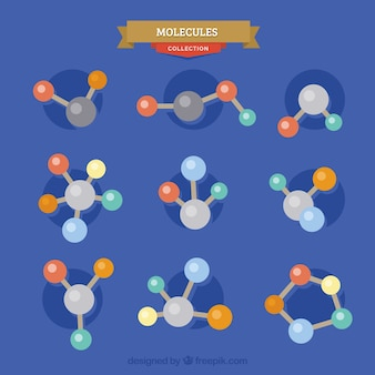 Collection of molecule in flat design