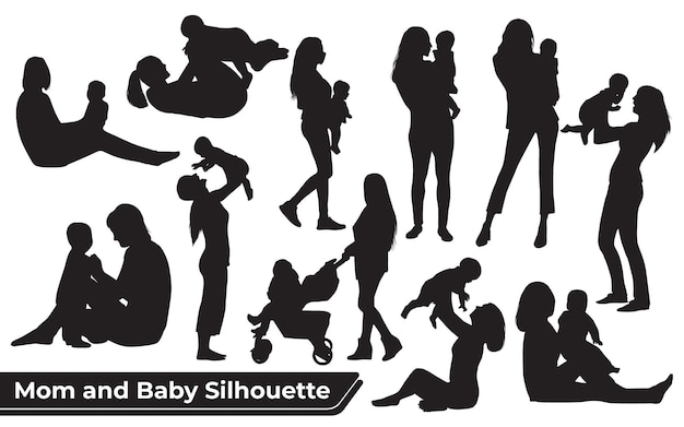 Collection of mom and baby silhouettes in different poses