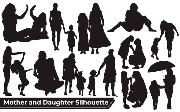 Collection of mom and daughter silhouettes in different poses